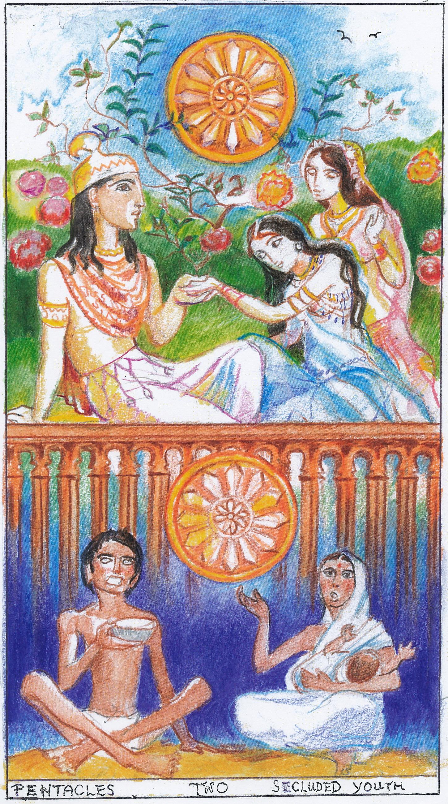 Sacred India Tarot-Buddha 2 Of Pentacles