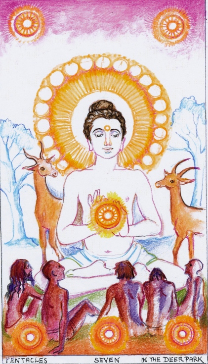 Sacred India Tarot 7 of Pentacles/Disks:  The Sermon in the Deer Park