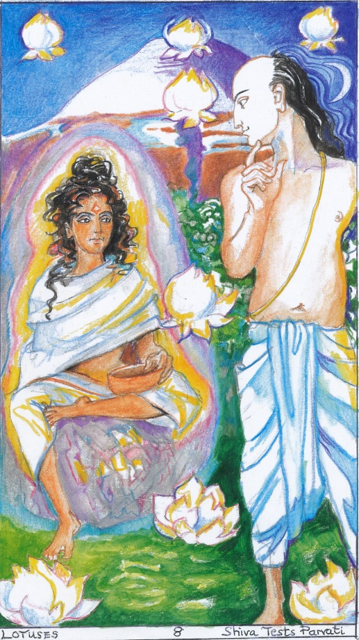 Sacred India Tarot - Siva tests Parvati with a Mask
