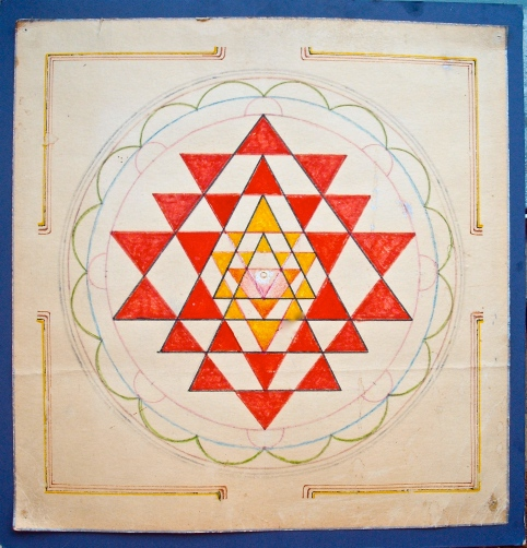 Sri Chakra Yantra - 4 Siva triangles through 5 Shakti triangles form a radiation which is simultaneously concentric and up/down.