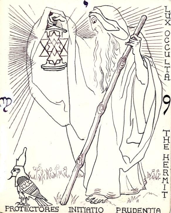 Key arcanum 9:  Hermit Yod - Hermetic Tarot 1991