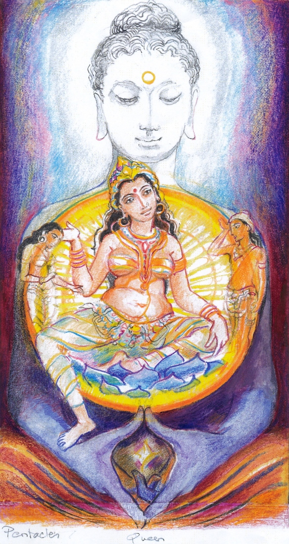Sacred India Tarot Queen of Disks - Buddha Hariti, wife of Kubera