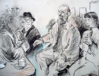 Monday morning at Fabrizi's - Bernard & Adam Kops, David Annersley & friend