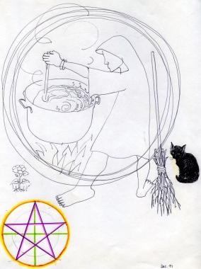 Cauldron & black cat