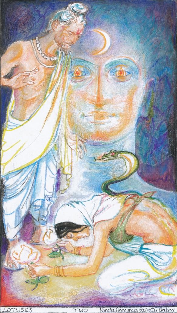 Sacred India Tarot 2 of Lotuses