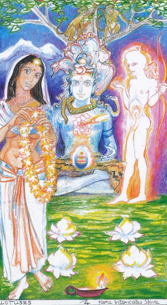Sacred India Tarot, 4 of Lotuses - Kama's Arrow