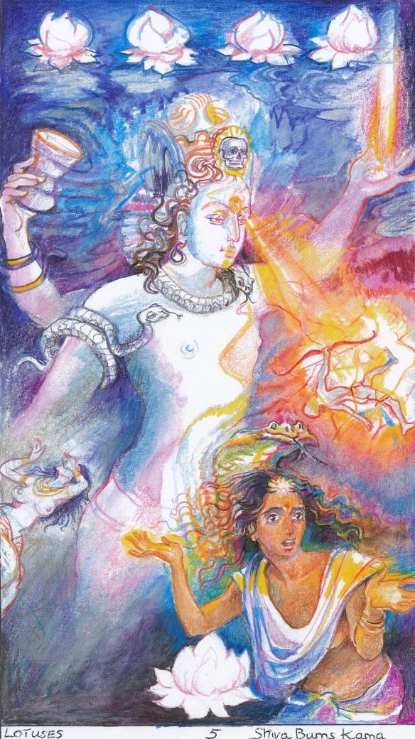 Sacred India Tarot, 5 of Lotuses - Siva destroys Kama
