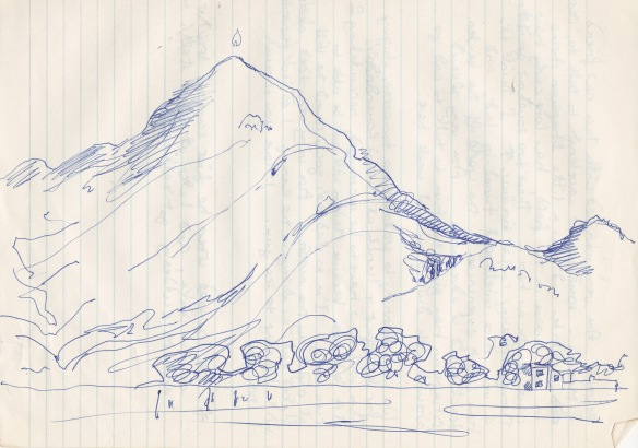 Arunachala sketch - one of the oldest and most sacred mountains on earth - Siva's red rock hill