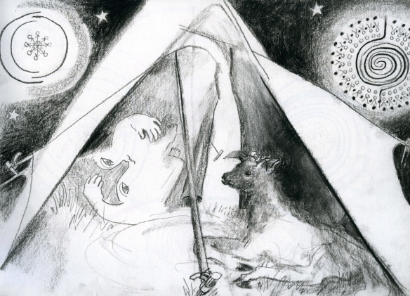 The Fool and the Lamb in a tent with Angels