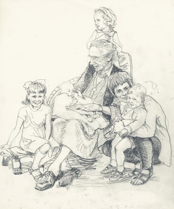 Auntie Lonie with her niece Jennifer & children