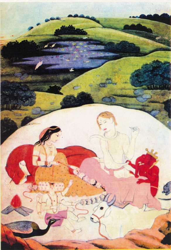 Postcard - Parvati, Siva & family in Kailas