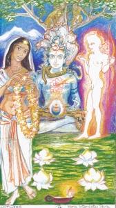 Sacred India Tarot 4 of lotuses version 1