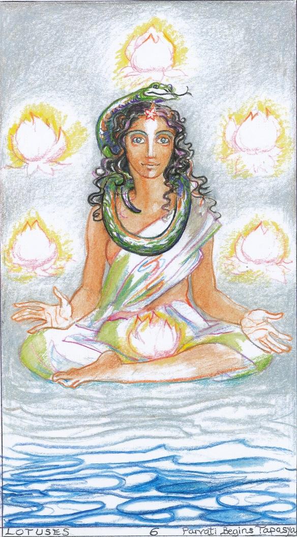 Sacred India Tarot 6 of Lotuses - Parvati begins her spiritual practice