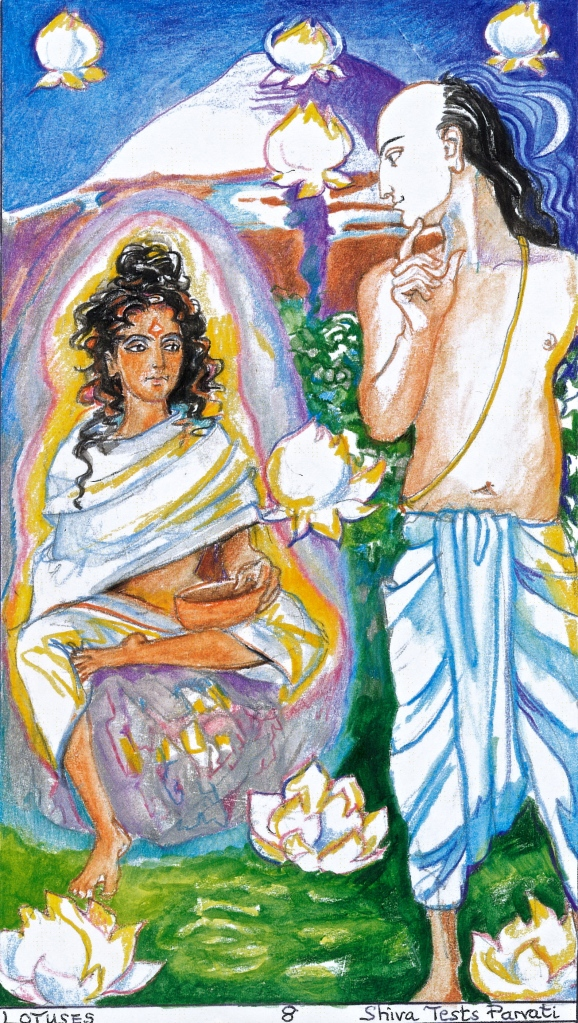 Sacred India Tarot 7 of Lotuses/Cups:  Siva Tests Parvati