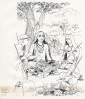 Sankara gives the Vedas ... Annapurna is in the background. (ja 1994)