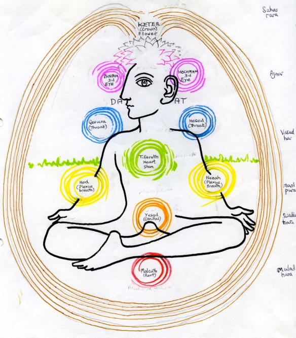 The chakras on the Tree of Life.  The root chakra at the base of the spine, is actually our connection with the ground.