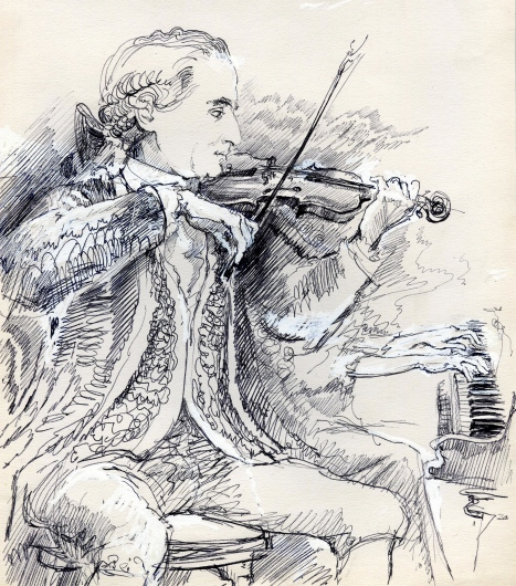 Master R playing the violin, 2003