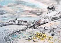 sketch, St Malo from Alet headland