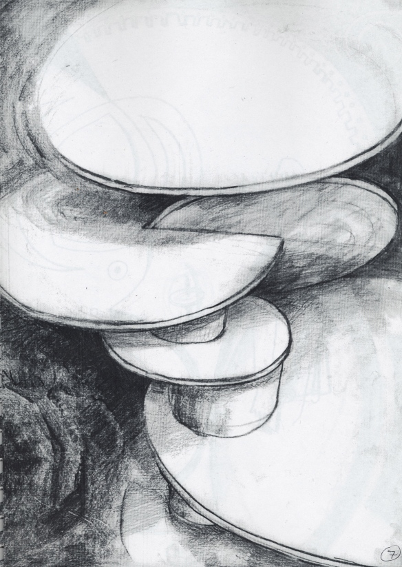 Orbits (2) - sketch in 1988, of a wooden sculpture I made at art college in 1968