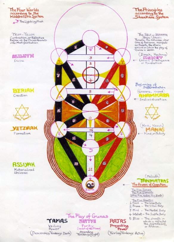 Tree of Life showing the Indian shankara model of the Three Gunas