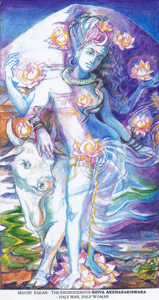 Sacred India Tarot 10 of Lotuses - Siva Ardhanariswara