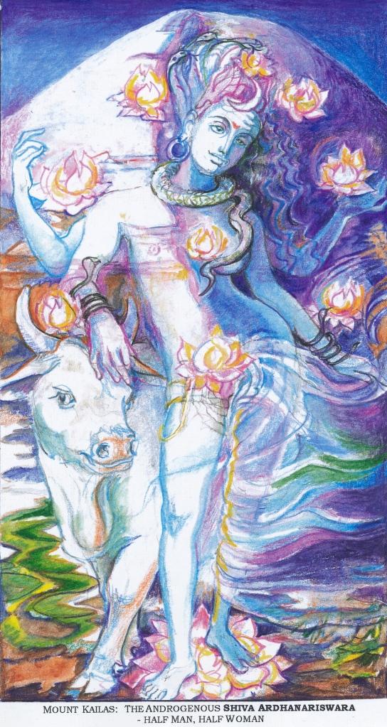 Sacred India Tarot 10 of Lotuses - Siva Ardhanariswara