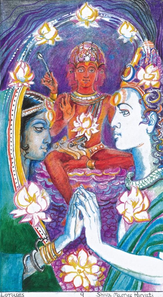Sacred India Tarot 9 of Lotuses - Brahma officiates the wedding of Siva and Parvati