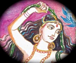 Sacred India Tarot, Kama's wife Rati, detail