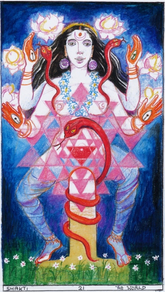 Sacred India Tarot World Shakti for card 21 - originally drawn for Queen of Lotuses