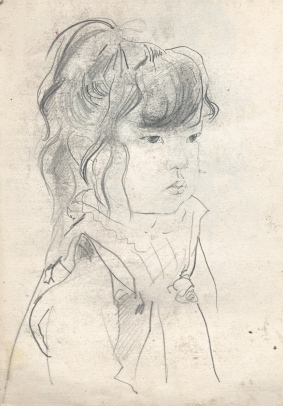 sketch, little Japanese girl
