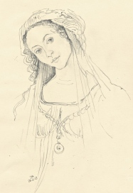 Many attempts yesterday, to draw her. Sometimes I see an Italian girl of that period - who came and sat for him.