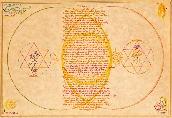 "Vesica Pisces, with the four elements, and a stanza from Sri Aurobindo's epic poem ""Savitri"""