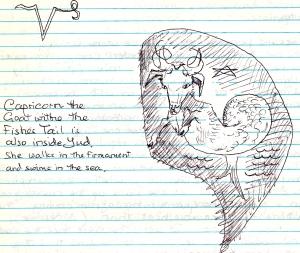 Capricorn glyph inside a Yod