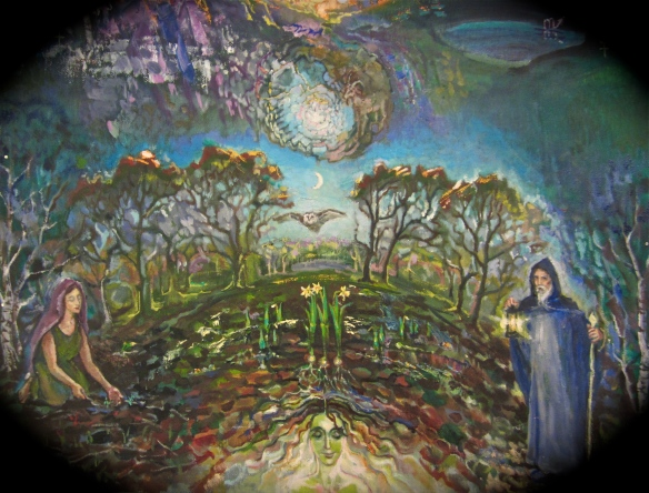 Malkuth garden and forest, with the Moon in Capricorn - from a tree of life painting for Chris Stavri