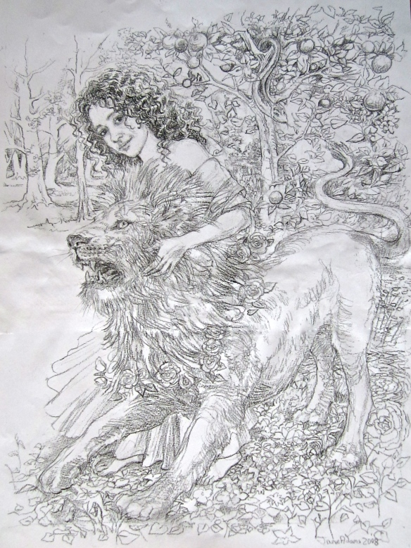 Portrait of Annika with lion: Tarot Key 8 - soul Strength