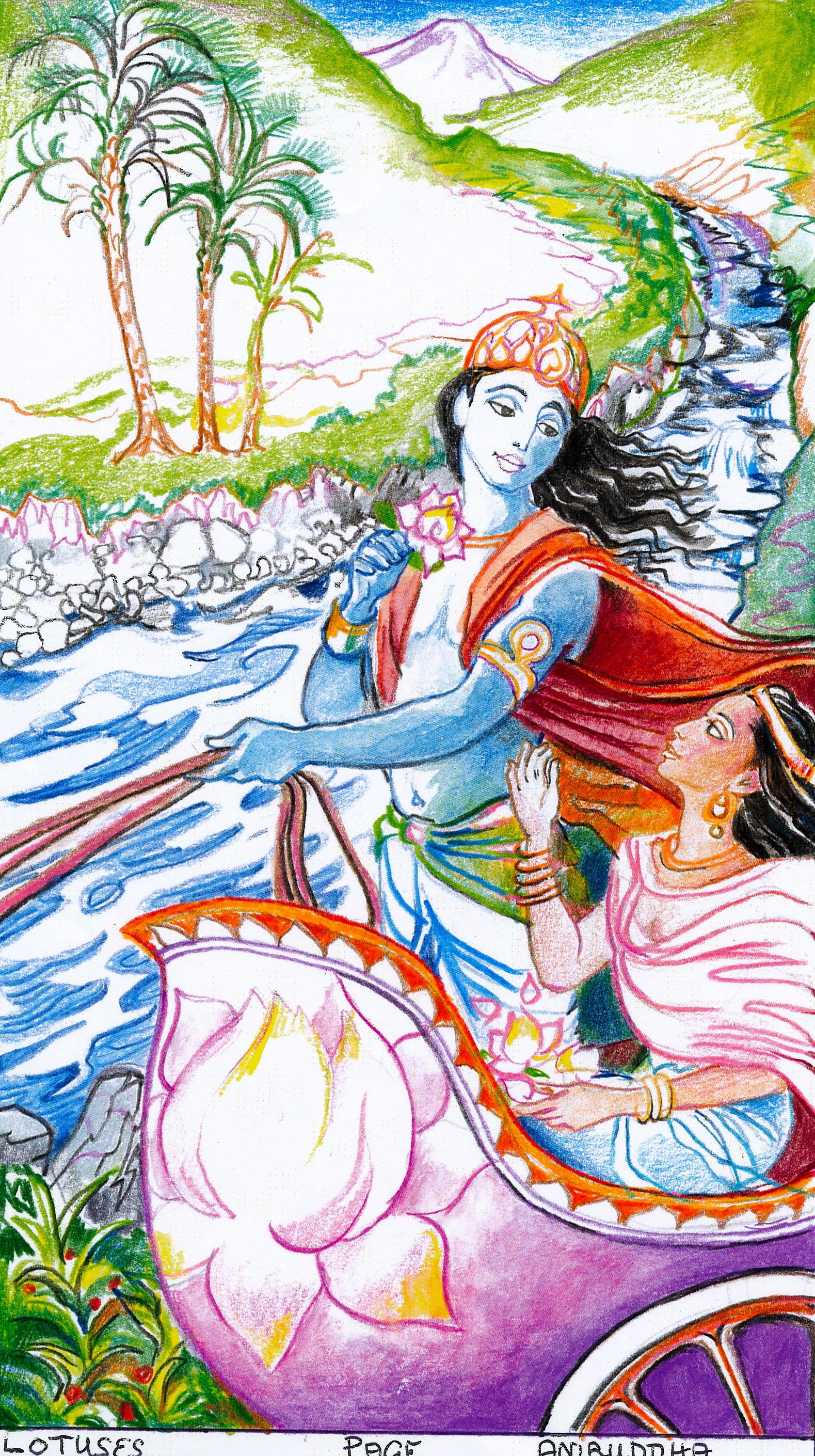Sacred India Tarot Page Of Lotuses