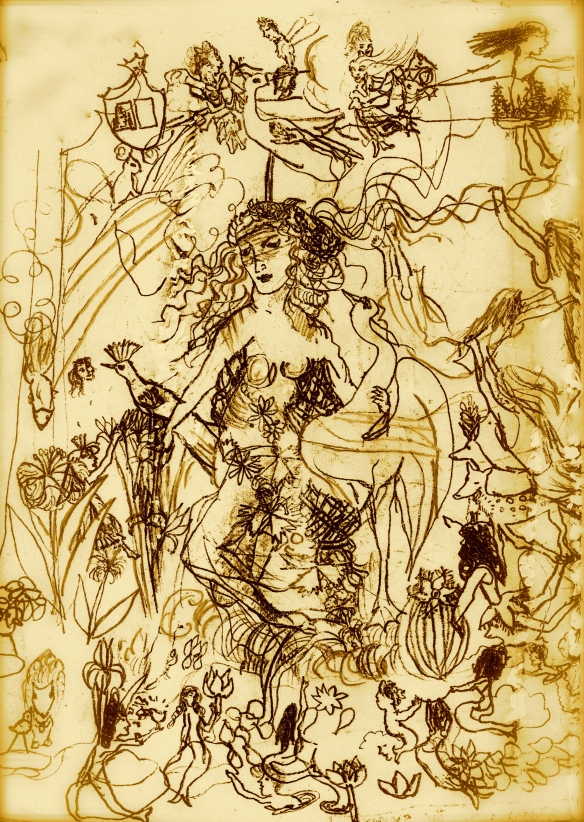 goddess with swan - 1956, copy from Leonardo