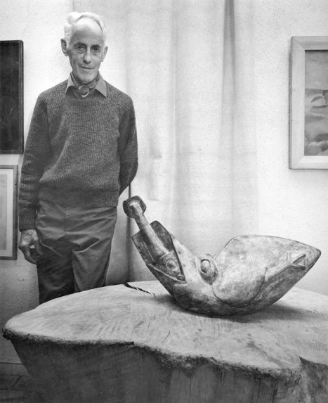 Jim Ede with Gaudier's Bird swallowing a Fish