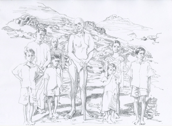 Ramana with Arunachala's children, including Ganesan, Sundaram and Mani