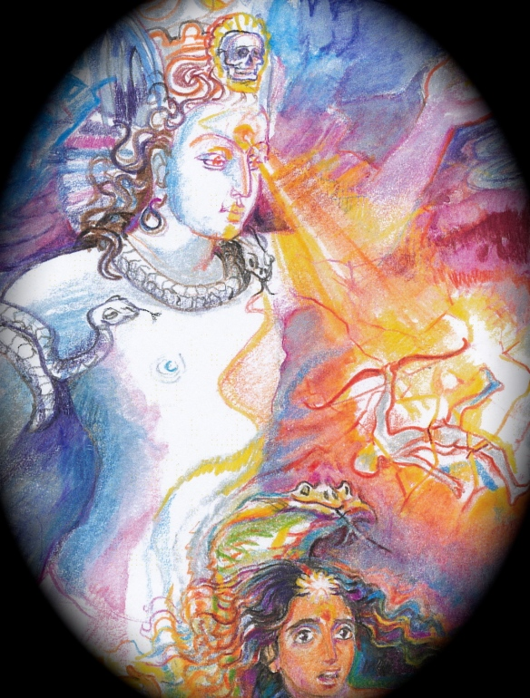 Sacred India Tarot, 5 of Lotuses - Siva destroys Kama with his third eye