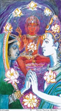 Sacred India Tarot 9 of Lotuses