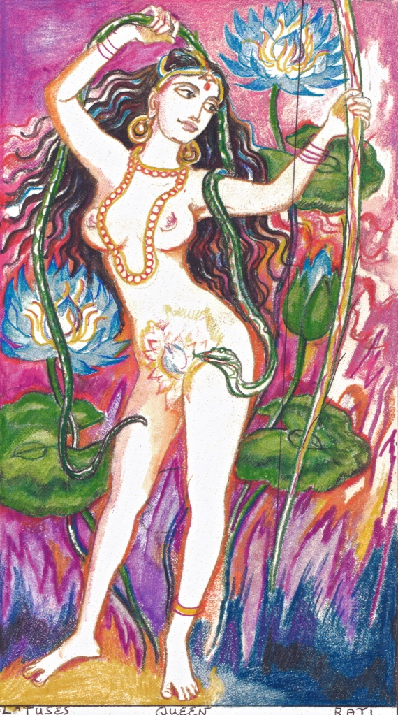 The Sacred India Tarot, Queen of Lotuses - Rati, wife of Kama