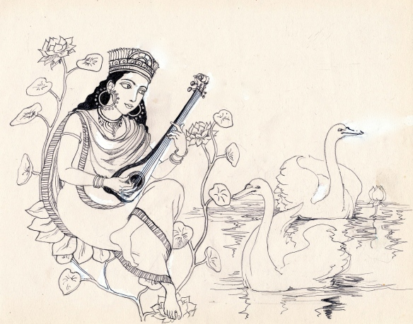 Saraswathi with swans