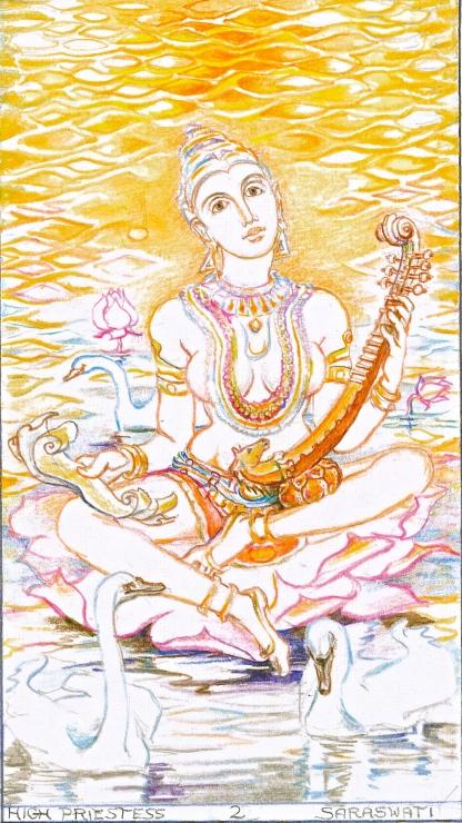 Sacred India Tarot 2, Saraswathi the High Priestess
