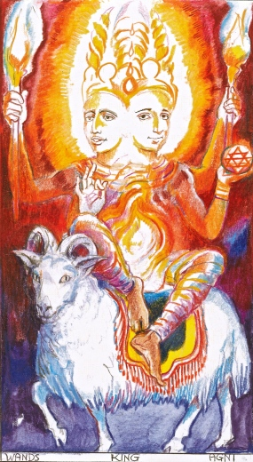 "Note how the sanskrit ""Agni"" and the Ram vehicle, resonate the French word agneau - the Lamb or young ram; and the wealth of Biblical symbolism for the archetype. In this SITA card, I was requested to portray the publisher of the deck, Gautam Sachdeva, and the author, Rohit Arya"