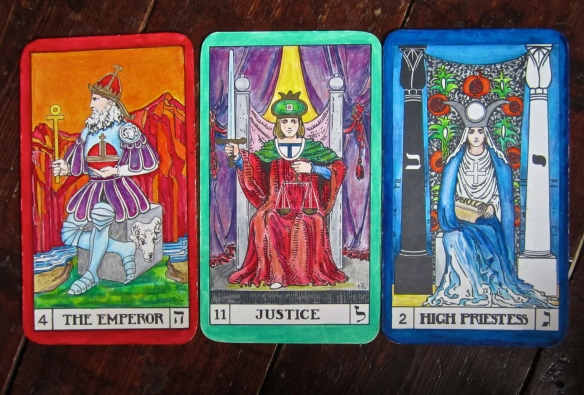"Priestess, Justice, Emperor - Tarot Keys which spell ""galah"" meaning 'to discover or reveal'."