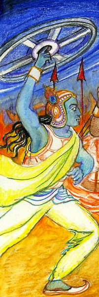 Sacred India Tarot Krishna restores dharma - detail
