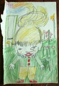 small boy in garden