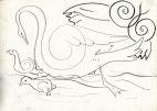 swan, cygnets & owl