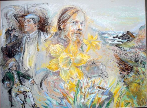 "A painting done in 1986.  In those days there was a great deal of pain around relationships - it felt like a ""flower of knives' in the solar plexus, yet it was at the same time this yellow flower of spring.  Many years later, I found the book ""The secret of the golden Flower""."